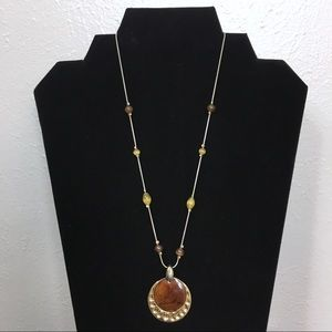 Kenneth Cole Gold & Brown Pendent Necklace